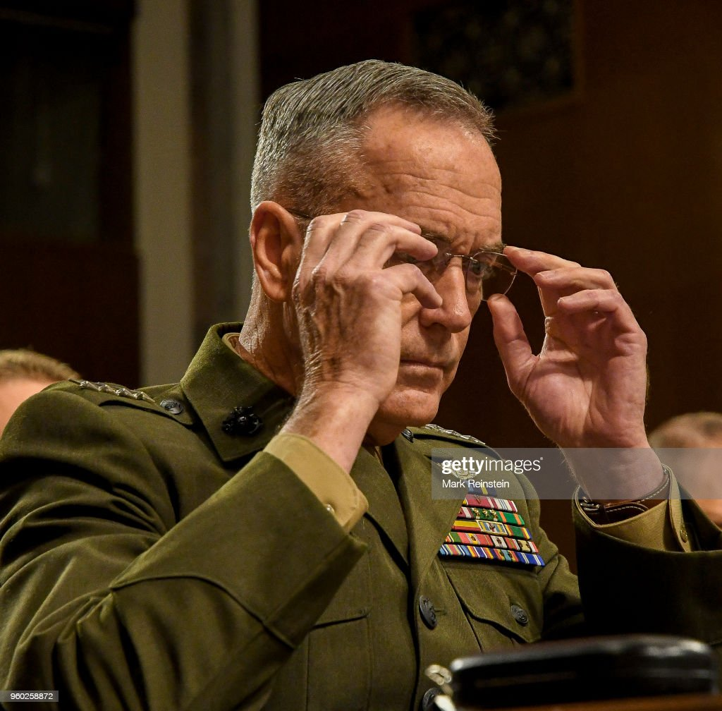 View of American military commander and Chariman of the Joint Chiefs of Staff General Joseph Dunford as he appears before the Senate Armed Services Committee during a budget hearing, Washington DC, June 13, 2017.