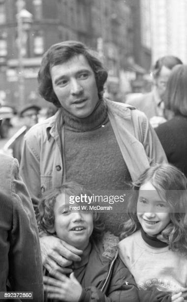 View of American playwright Israel Horovitz with his children Adam and Rachel outside the Village Gate for the OBIE Awards New York New York May 8...