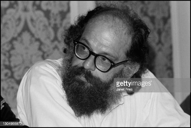 View of American poet Allen Ginsberg during a press conference for People to Investigate Leary's Lies , San Francisco, California, September 1974....