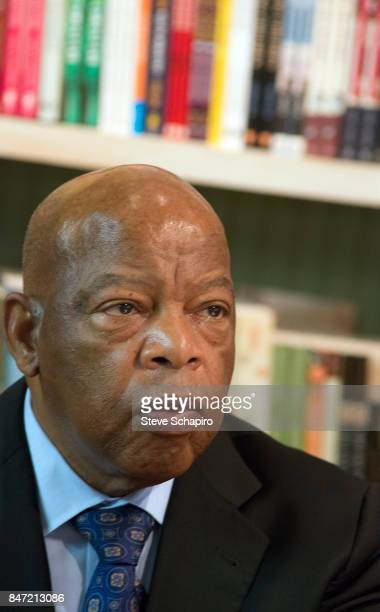 View of American politician and Civil Rights activist US Representative John Lewis at a book signing during the Montreat Conference Center's 'Dr...