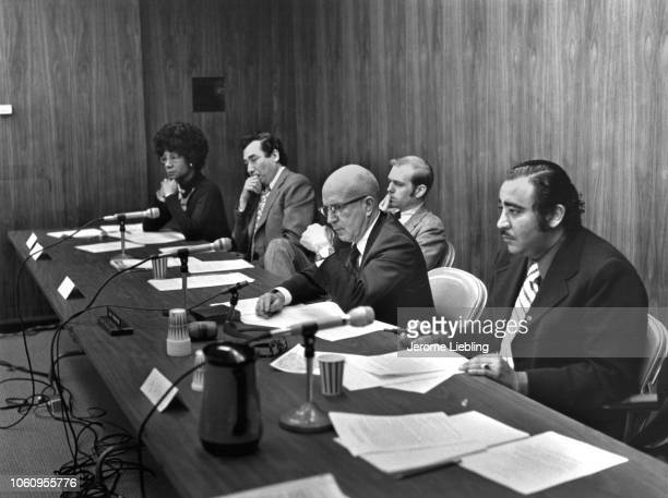 View of American politician as they attend an unspecified US House of Representatives congressional hearing Washington DC 1973 Among those pictured...