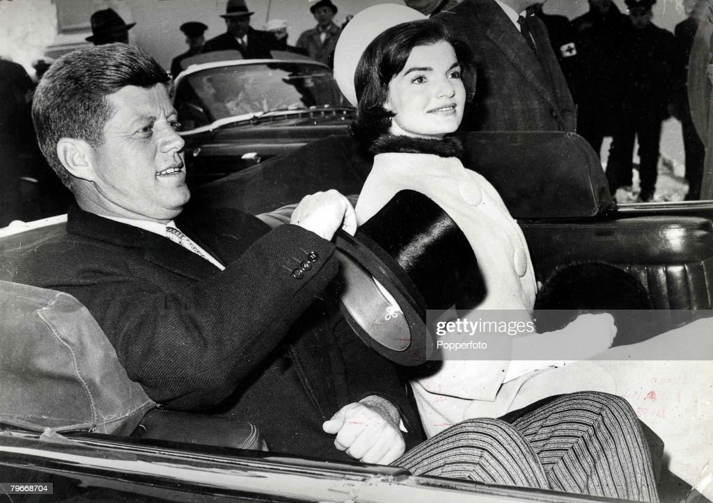 President John F. Kennedy and his wife Jacqueline, : News Photo
