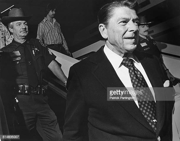 View of American politician Ronald Reagan as he rides an escalator at the Palm Beach International Airport Palm Beach Florida 1978