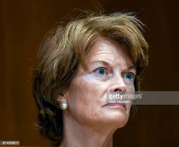 View of American politician Senator Lisa Murkowski as she listens to testimony during a Senate Subcommittee on Appropriations hearing, Washington DC,...