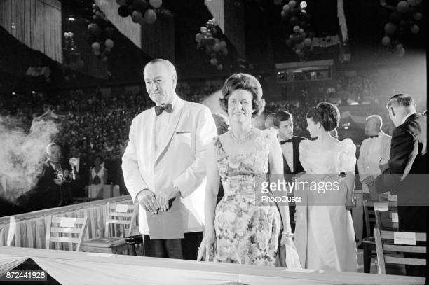 View of American politician US President Lyndon B Johnson and his wife First Lady Lady Bird Johnson as they attend a Democratic fundraiser Washington...