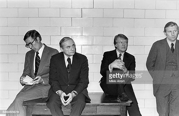 View of American politicians and US Presidential candidates from left Mo Udall Milton Shapp and Jimmy Carter along with an unidentified man as they...