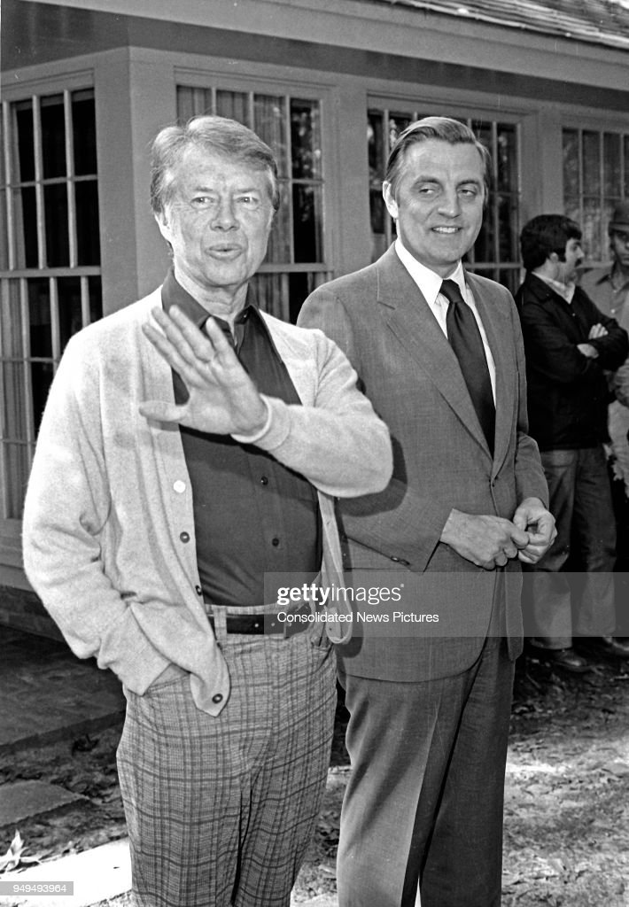 View of American politicians US President-Elect Jimmy Carter (left) and US Vice President-Elect Walter Mondale as they share a laugh prior to a press conference, Plains, Georgia, November 4, 1976.