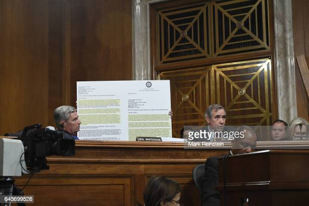 View of American politicians US Senators Sheldon Whitehouse Jeff Merkley and Kirsten Gillibrand as they attend a Senate Environment and Public Works...