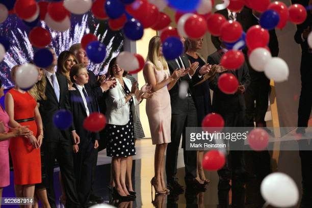 View of American real estate developer and presidential candidate Donald Trump , and his family , during the Republican National Convention at...