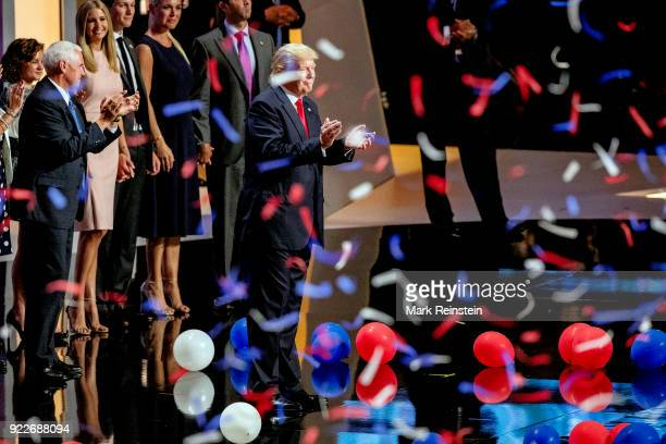 View of American real estate developer and presidential candidate Donald Trump and his running mate, Indiana Governor and vice-presidential candidate...