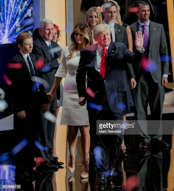 View of American real estate developer and presidential candidate Donald Trump his wife former model Melania Trump and his running mate Indiana...
