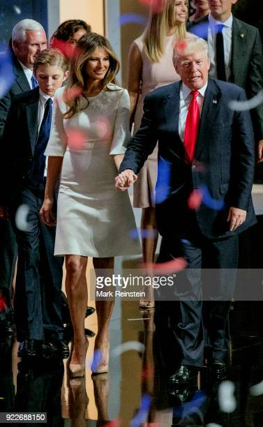 View of American real estate developer and presidential candidate Donald Trump , his wife, former model Melania Trump , during the Republican...