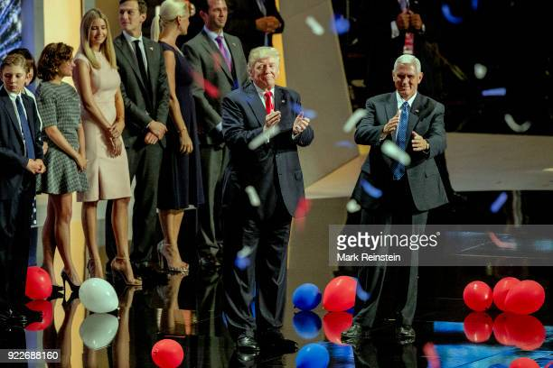 View of American real estate developer and presidential candidate Donald Trump and Indiana Governor & vice-presidential candidate Mike Pence on stage...