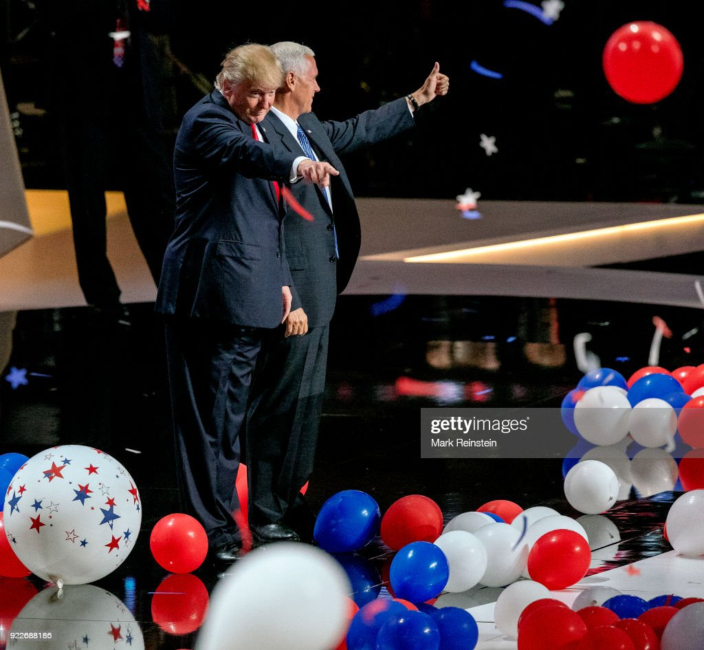 View of American real estate developer and presidential candidate Donald Trump (left) and Indiana Governor & vice-presidential candidate Mike Pence on stage at the conclusion of the final day of the Republican National Convention at the Quicken Loans Arena, Cleveland, Ohio, July 21, 2016.