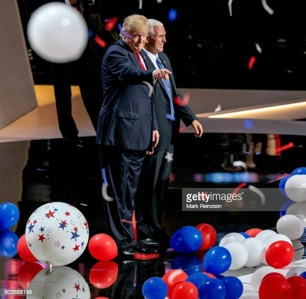 View of American real estate developer and presidential candidate Donald Trump and Indiana Governor vicepresidential candidate Mike Pence on stage at...
