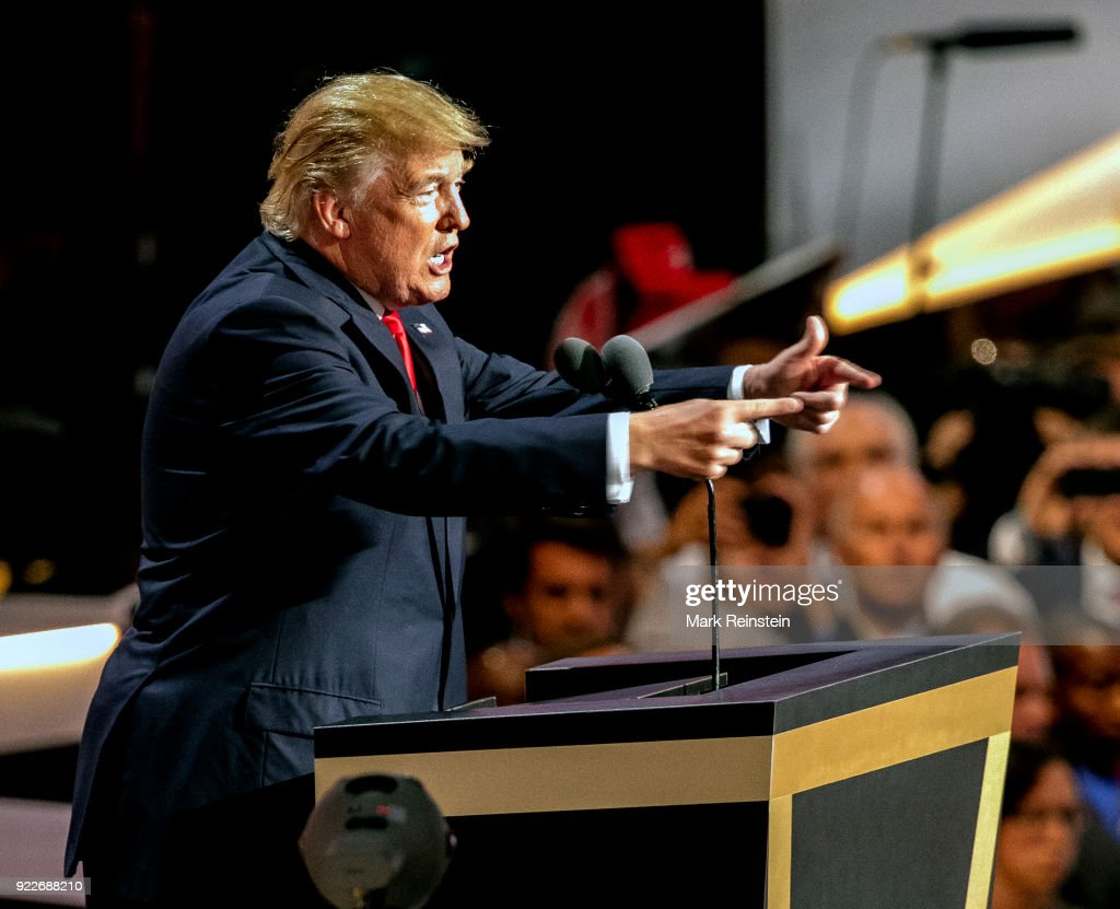 View of American real estate developer and presidential candidate Donald Trump at a podium as he addresses the Republican National Convention on its final day at the Quicken Loans Arena, Cleveland, Ohio, July 21, 2016.