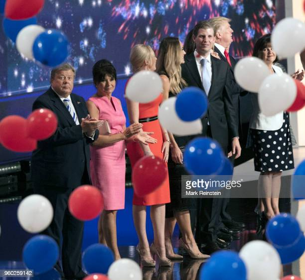 View of American real estate developer and presidential candidate Donald Trump and his family during the Republican National Convention at Quicken...