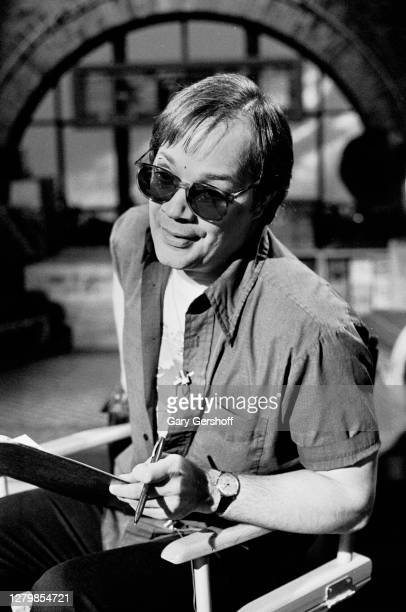 View of American Soul and Rock musician Mitch Ryder as he sits in a director's chair during an interview at MTV Studios, New York, New York, May 10,...