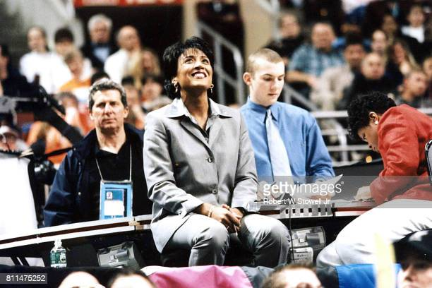 View of American television journalist and ESPN commentator Robin Roberts as she watches ons of the Final Four games in the 2000 NCAA Division I...