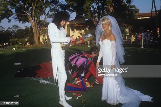 View of American Tommy Lee and actress Heather Locklear and musician during their wedding at the Santa Barbara Biltmore Santa Barbara California May...