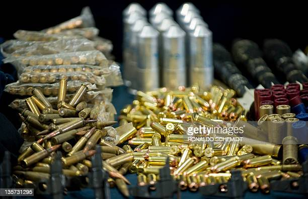 View of ammunitions seized in the arrest of Raul Hernandez Lechuga an alleged member of drugs cartel Los Zetas on display during a presentation to...