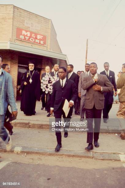 View of among others Civil Rights and religious leaders Archbishop Iakovos Dr Martin Luther King Jr Reverend Ralph Abernathy and Reverend Fred...