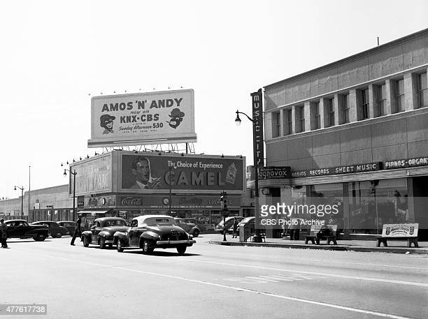 A view of Amos n Andy billboard for KNXCBS Radio Located at the southwest corner of the intersection at Sunset Boulevard and Vine Street Hollywood CA...