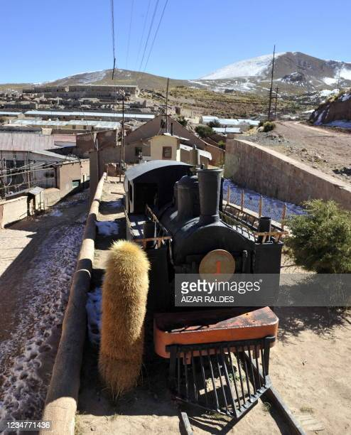 View of an abandoned locomotive in Pulacayo, a former mining center near the Uyuni salt flat, in the Potosi department, Bolivia on July 20, 2011. The...