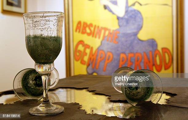 A view of an advertising for the Absinthe in the absinthe museum on March 31 2016 in AuverssurOise France Absinthe was the favorite drink of the...