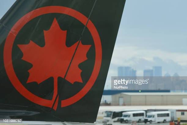 A view of an Air Canada logo on a plane at Calgary International Airport On Monday September 10th in Calgary Alberta Canada