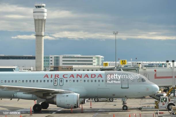 A view of an Air Canada plane at Calgary International Airport On Monday September 10th in Calgary Alberta Canada