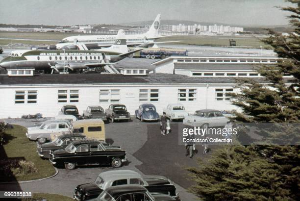 A view of an Air Lingus and Pan Am planes at Shannon Airport on October 1 1963 in Shannon Ireland