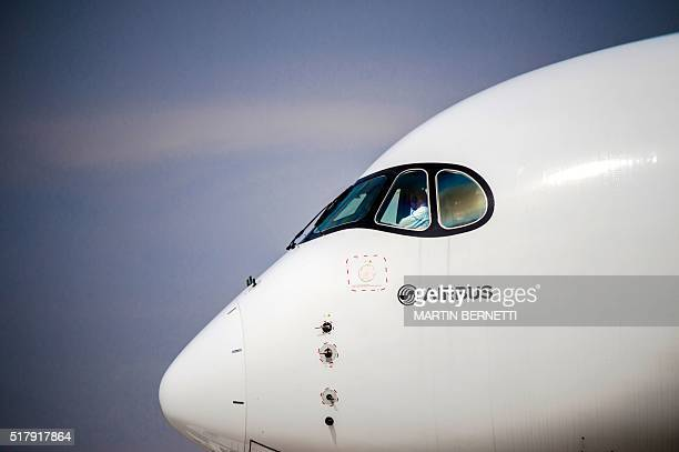 View of an Airbus A350 during the XIX Air and Space Fair in Santiago on March 28 2016 AFP PHOTO/MARTIN BERNETTI / AFP / MARTIN BERNETTI