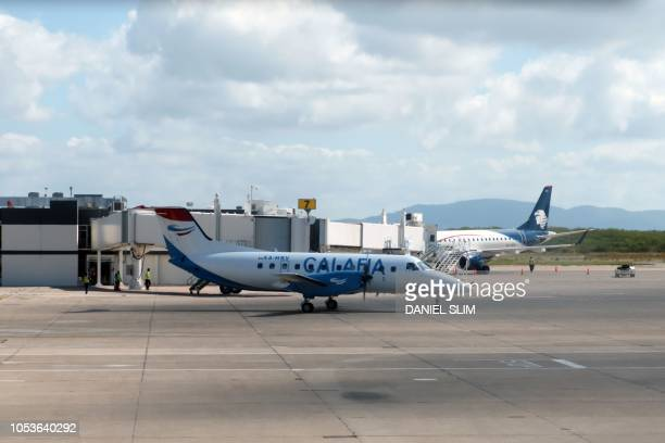View of an airplane of Mexican airline Calafia in Mazatlan, Sinaloa state, Mexico on October 25, 2018.