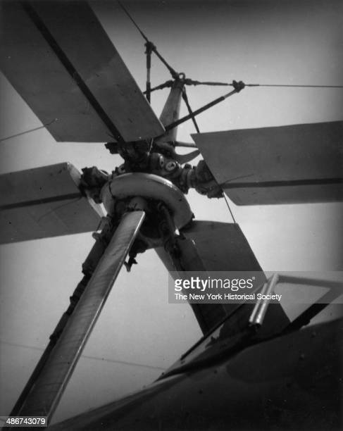 View of an airplane propeller possibly for an autogyro at an unidentified airport New York 1930