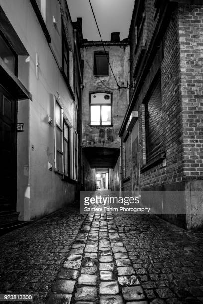 view of an alley by night - samere fahim stock photos and pictures