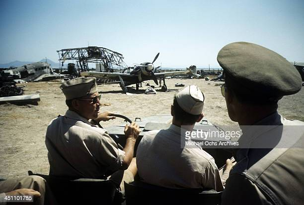 A view of an Allied officers drive through an airfield after the invasion of Sicily 5 days after the campaign called Operation Husky during the World...