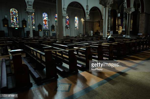 View of an almost empty Carmelite Church in Dublin city center seen on the eve of Palm Sunday. On Saturday, March 27 in Dublin, Ireland.