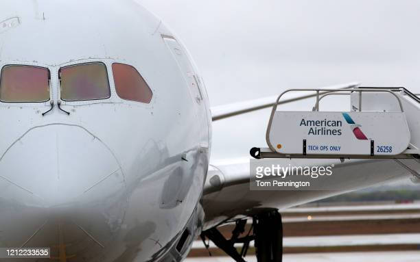 A view of an American Airlines jet at Dallas/Fort Worth International Airport on March 13 2020 in Dallas Texas American Airlines announced that it is...