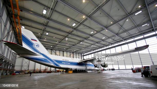 View of an Antonov AN124 in Schkeuditz Germany 1 March 2017 Since 2006 two airplanes of the biggest serial cargo aircraft in the world with a...
