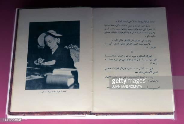 View of an arabic translation of the book La razon de mi vida writen by former Argentina's First Lady Eva Peron exhibited at the Evita Museum in...