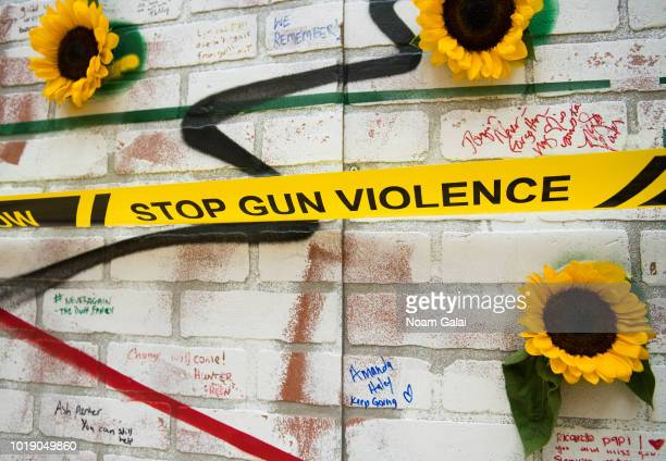 A view of an art installation against gun violence at March For Our Lives 'Road To Change' Life Camp Unity Celebration on August 11 2018 in New York...