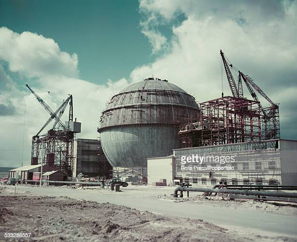 View of an atomic power plant to contain a nuclear reactor being constructed at the Dounreay Nuclear Power Development Establishment on the north...