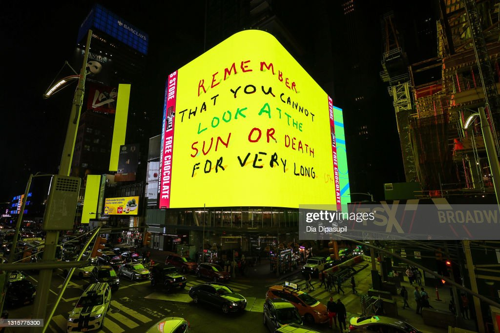 New Work By Artist David Hockney Unveiled Across 76 Screens In Times Square : News Photo