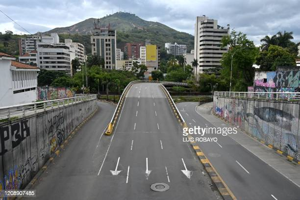 View of an empty avenue in Cali Colombia on April 1 as mandatory preventive isolation was declared from March 24 to April 13 as a measure against the...