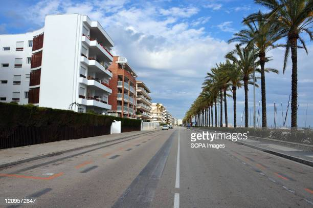A view of an empty avenue next to the Calafell beach After the state of alarm and the confinement of people in their homes due to the worldwide...