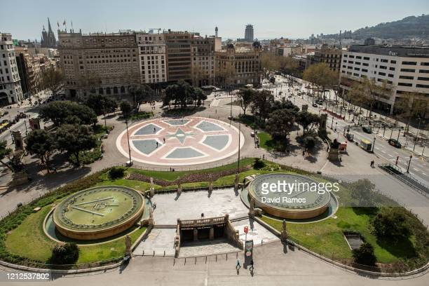 View of an empty Catalunya Square on March 15, 2020 in Barcelona, Spain. As part of the measures against the virus expansion the Government has...