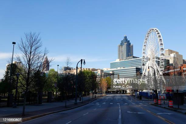 View of an empty Centennial Olympic Park Drive NW on April 4, 2020 in Atlanta, Georgia. Georgia Gov. Brian Kemp issued a statewide shelter-in-place...