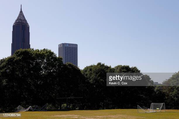 View of an empty Central Park sports field on May 10, 2020 in Atlanta, Georgia. The shelter-in-place order for all Georgia residents to help slow the...