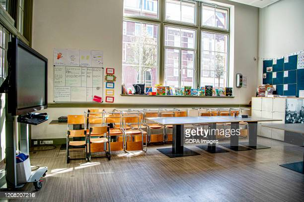 A view of an empty class at the Globettroter school in Rotterdam The Dutch government has order all schools to be closed until further notice in...